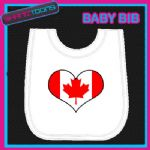 CANADA HEART FLAG I LOVE WHITE BABY BIB EMBROIDERED